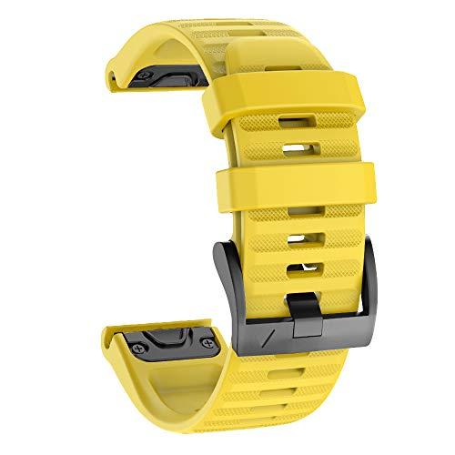 Isabake Cinturino Orologio per Garmin Fenix 6X / 6X PRO, Fenix 5X / 5X Plus, Accessori Fenix 3/3 HR, Cinturino QuickFit 26mm di Larghezza (Giallo)