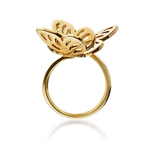 Lara Bohinc Mujer 18ct amarillo chapado en oro plata de ley mariposa doble anillo, otro, oro, K