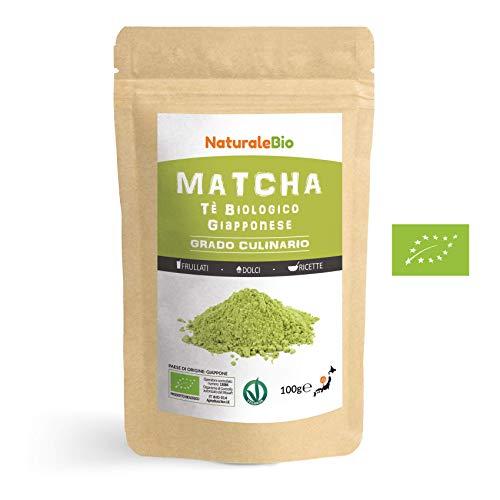 Matcha Tee Pulver Bio [ Cooking-Qualität ] 100 GR   Original Green Tea aus Japan   Japanischer Matcha Ideal zum Smoothies - Shakes - Latte   Tee hergestellt in Japan Uji, Kyoto   NATURALEBIO®
