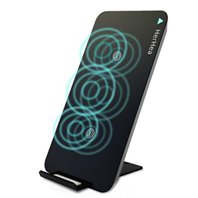 Caricabatterie Wireless,Herhea Ricarica wireless Caricabatterie 3 Qi Caricabatterie Senza Fili per iPhone 8/8Plus/X,Samsung S9/S9 Plus/S8/S8 Plus,Note 8,S7 Edge Dispositivi Qi-Enabled