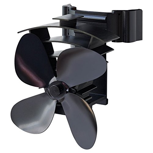 Valiant FIR350 Remora Magnetic Flue Pipe Heat Powered Stove Fan, Black