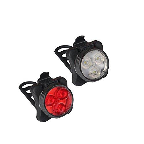 Collory, Set lampade e batteria, 3LED, inclusocaricatore, ricaricabili tramite micro USB, luci per passeggino, sedia a rotelle, impermeabili e facili da installarea incastro, attacco in silicone