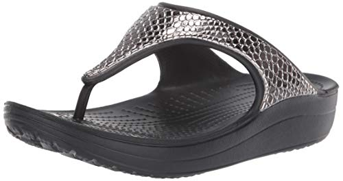 Crocs Sloane Metaltxt Flip W, Infradito Donna, Multicolore (Gunmetal/Black 000) 38/39 EU