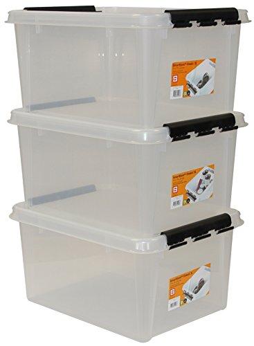 Hammarplast 35100703 Clipbox Smart - Set di contenitori, 31 Litri, 3 pz, Colore: Trasparente
