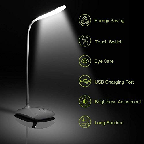 INSIDE COLLECTIONTM Rechargeable LED Touch On/Off Switch Desk Lamp Children Eye Protection Student Reading Led Table Lamps USB Charging Touch Dimmer