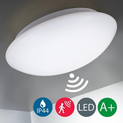 Plafón con Sensor de Movimiento LED Ø29cm, IP44, 12W, cristal auténtico,Lámpara impermeable para exterior y interior, Luz blanco neutro 4000K