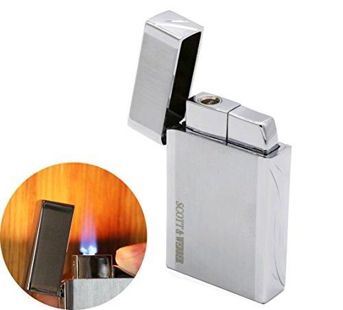 Scott & Webber - Feuerzeug Gas Sturmfeuerzeug Silber 100{32fa0e26d499f51196cc9e84d3f43cadbac3acb360dbb57ed7471fc3c2131e2c} Metall mit windfester Jetflamme/Pfeife, Zigarette, Zigarre/Gasfeuerzeug / Nachfüllbar, Einstellbar/bis 1300°C #SMART #Easy #ELEGANT