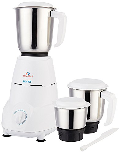 Bajaj Rex 500-Watt Mixer Grinder with 3 Jars (White)