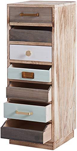 ts-ideen Cassettiera Archivio stile Shabby Industriale effetto legno invecchiato 7 cassetti