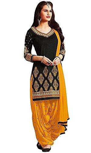 Rensil Women's Poly Cotton Dress Material Dress Material (Rdblack&Yellow_Free Size)