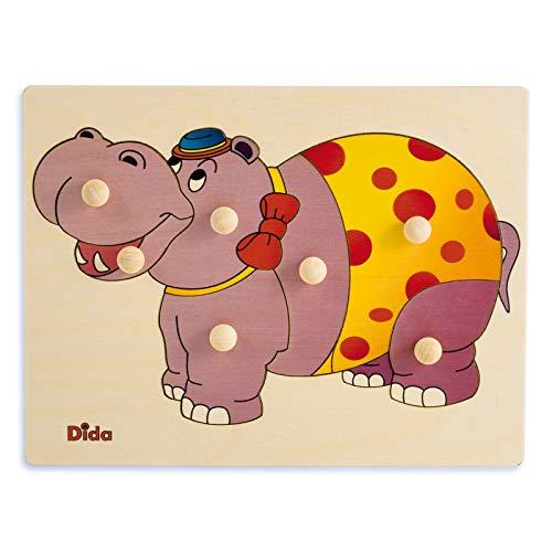 Dida – Puzzle Ippopotamo. Puzzle in Legno per Bambini, Tessere ad Incastro con Comodi pomelli