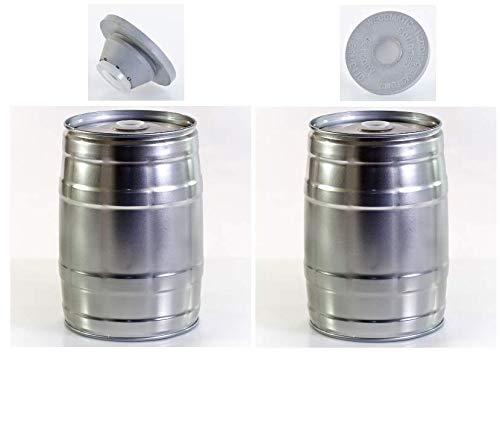Brauen.de - Paquete de 2 barriles de 5 litros para Fiesta (Incluye 3 Tapones de Goma)