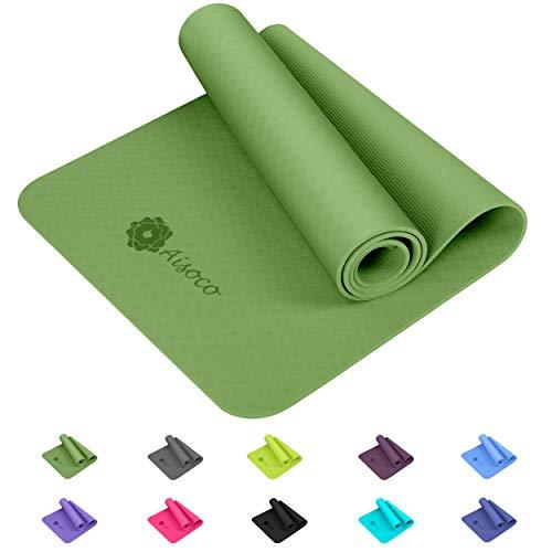 Aisoco Stuoia di Yoga Premium TPE, Antiscivolo, Ecologico, Innocuo per la Pelle, con Borsa e...