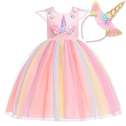 NNDOLL ® Bambina Unicorno Ruffles Fiori Festa Cosplay Abito da Sposa Vestito Girl Principessa Rosa 5 6 Anni (130)