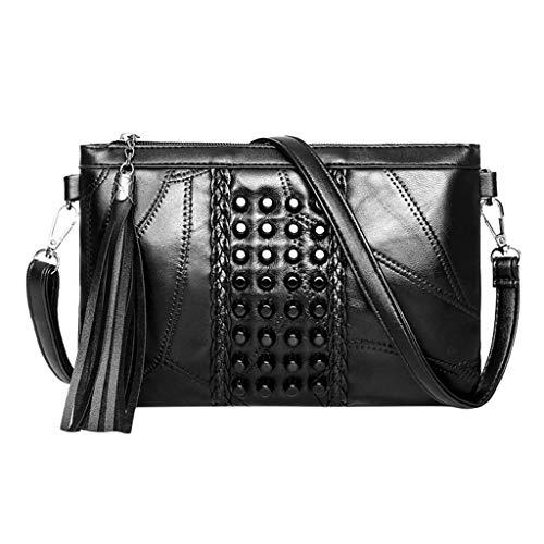 Poachers bolsos bandolera mujer crochet bolsos mujer baratos pequeños/Bolso de sobre remache negro bolsa de mensajero de la borla de embrague