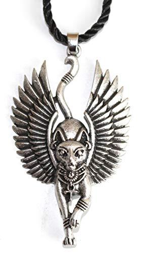 Heilige Katzen Halskette mit Flügeln der Göttin Bastet - Ägyptisches Symbol Ankh Lebenskreuz - Glücksrad des Lebens, des Wohlstands und der Gesundheit - Silberne Farbe - Original Mutter Frau Geschenk