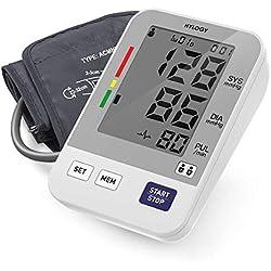 Tensiómetro de Brazo, HYLOGY Tensiómetro de Brazo Digital, 2 Memorias de Usuario(2 * 90), Escala de Colores de Semáforo de la OMS, Validado Clínicamente (Blanco)