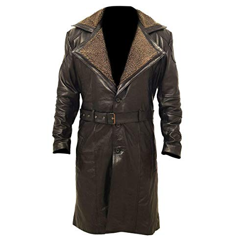 Costume da Trench Marrone Rick Deckard Harrison Ford Blade Runner (3XL, Brown Genuine Leather)