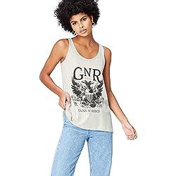 FIND Camiseta Guns N' Roses para Mujer, Gris (Grey), 40 (Talla del Fabricante: Medium)