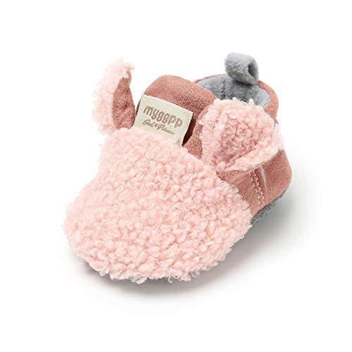 LACOFIA Scarpe Invernali da Bambina Stivaletti neonata con Suola Morbida Antiscivolo Rosa 6-12 Mesi