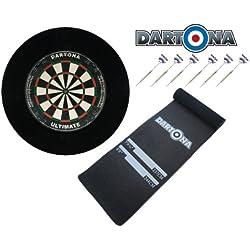 Dartset Dartona Ultimate Pro - Board + Pfeile + Soft-Feel Dartmatte + Surround in Schwarz
