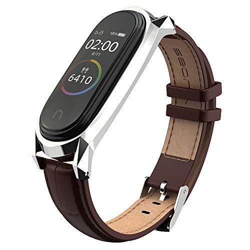 AHANGA Cinturino per Xiaomi Mi Band 4 Miband 3 in Vera Pelle Bracciale da Polso Cinturini Sostituzione Braccialetto Extendable Wristband Strap Compatibile Mi Band per Uomo e Donna Marrone