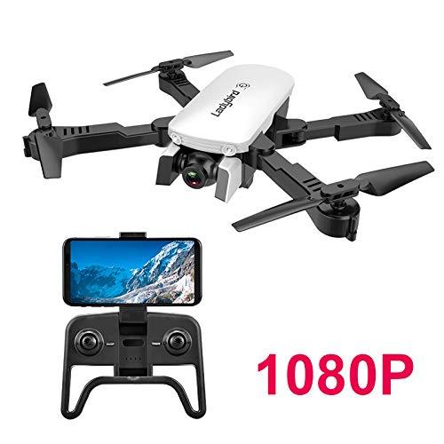 Adsvtech Drone WiFi FPV RC con Doppia videocamera HD 1080 per quadricoptero Pieghevole per Principianti, Bellezza Automatica, Fotografia gestuale, Volo traiettoria Bianca