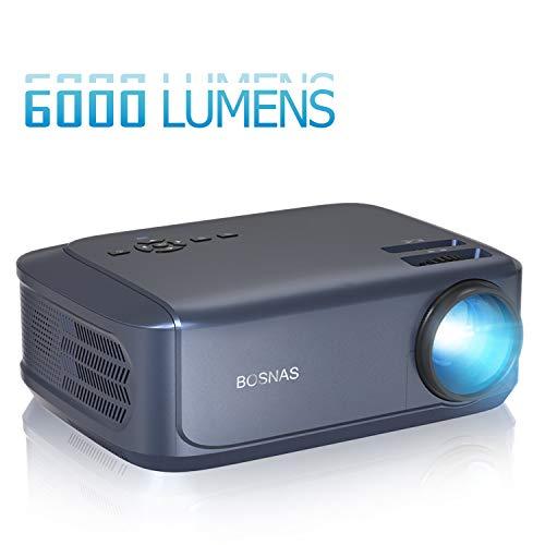 """BOSNAS Beamer 6000 Lumen Multimedia Full HD Video-Beamer unterstützt 1080P Full HD LED 50000 Stunden mit max 200\"""" Display, Verbindung mit HDMI VGA SD USB AV Gerät, Heimkino Projektor"""