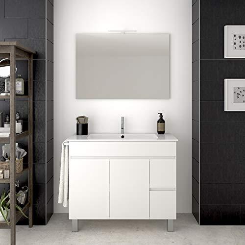 DUCHA.ES Mueble DE BAÑO con Lavabo Y Espejo Blanco con Aplique LED Varias Medidas(70CM)