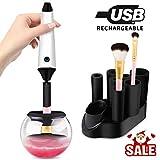 Make Up Brush Cleaner, Morpilot Pulitore per Pennello Trucco, Asciugatrice Macchina Spazzola Ricaricabile, Immediatamente 360 Rotazione Pulisce e Asciuga In Pochi Secondi (Include 7 Collari in Gomma)