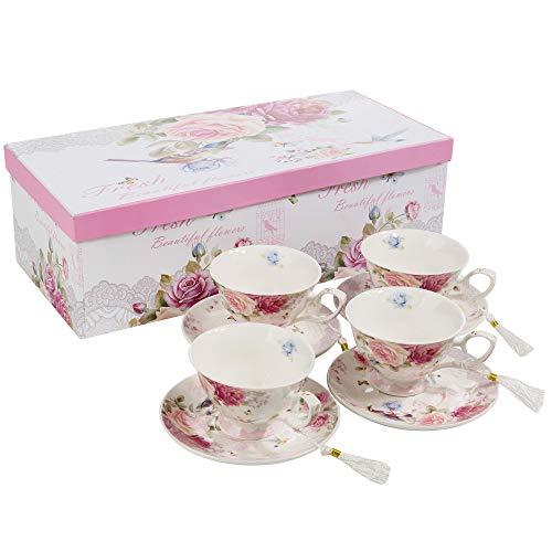 London Boutique Juego de 4 Tazas de café y platillo, diseño Vintage de Flores y Mariposas de Porcelana, cerámica, Bird Rose Butterfly, 11x8cm