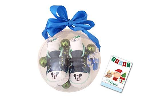 Idea Regalo Pallina Natalizia Il Mio Primo Natale con Scarpine Disney bimbi (6-12 mesi, Blu Topolino)