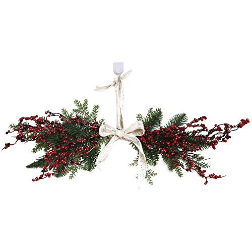 FNKDOR Christmas Wreath Door Wall Ornament Pentagram Hanging Decoration With Bowknot