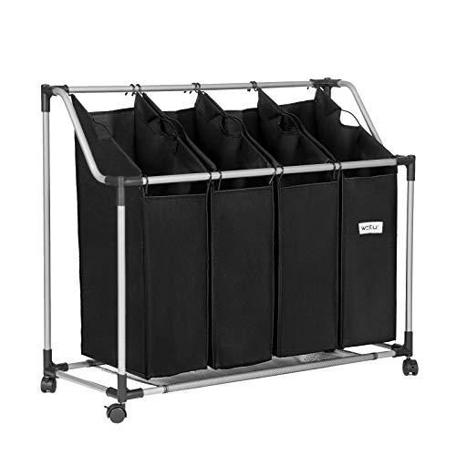 WOLTU Wäschekorb Wäschesammler Wäschebehälter Wäschesortierer mit 4 Taschen Stabil Schwarz SH33SZ03