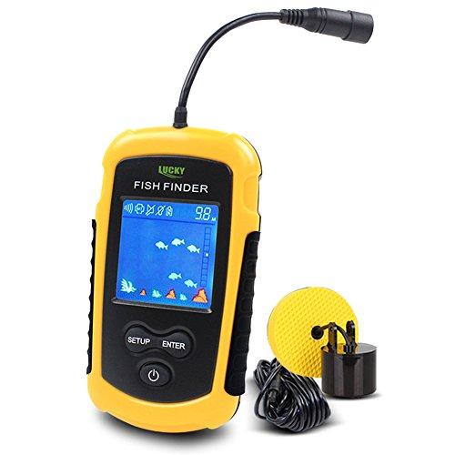 LUCKY Cercatori dei Pesci Allarme 100M / 328ft Pesca Portatile del Sonar sensore di profondità LCD Wired Finder Ecoscandagli
