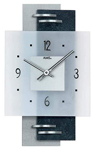AMS 9245 - Orologio da parete con quadrante in vetro satinato su doppio rettangolo, colore: Bianco/Nero/Grigio perla, argento, rettangolare