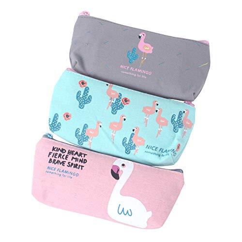 Zicome Flamingo Pencil Pen Case Cosmetic Pouch Makeup Bag Set of 3