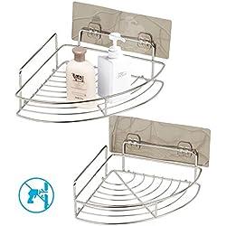 estante esquinas baño ZoomSky 2pcs sin necesidad de taladrar de estante de ducha para colgar ducha de uso en baño y estante baño acero inoxidable con 2 regalo gratis de gancho adhesivo fuerte