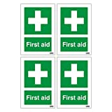 4 x First Aid Signs. First Aid Cross symbol and text. 100mm x 150mm (Pack of 4) (Self Adhesive Sticker)