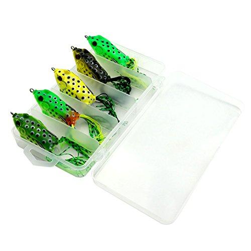 Dealit 6 Pezzi Fishing Lure Tubo in Plastica Morbida della Rana Ancorette Topwater Ray Rane Esche Artificiali con Tackle Box