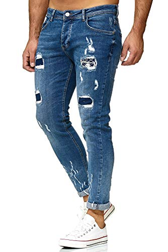 Redbridge Uomo Denim Jeans Regular Fit Usato Strappati Fori Casual Stretch Pantaloni