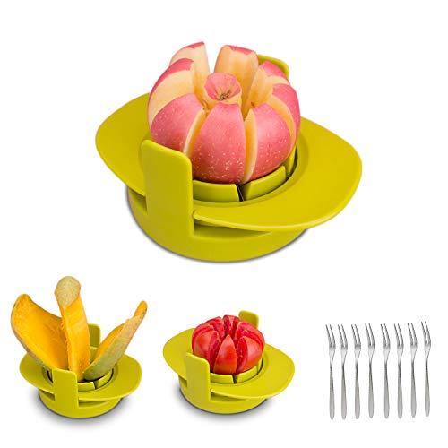 HENSHOW Obstschneider Set, 4 in 1 Multifunktions Obstschneider gehören 3 Verschiedene scharfe Klingen aus rostfreiem Stahl Apfelschneider/Mango-Schneider/Tomatenschneider, mit 8 Fruchtgabel