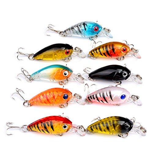 Hrph - 9 esche da pesca di 4,5 cm, 4 g, in plastica dura, crankbait, wobbler, minnow, ottimo crank, esca dura