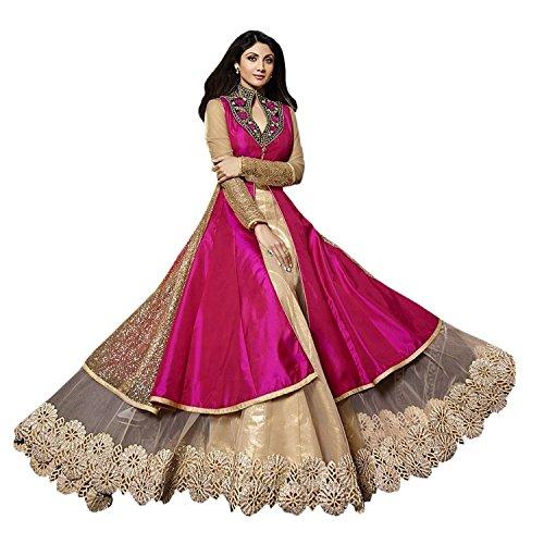 Jay Varudi Creation Women's Silk Dress Material (Karma Pink 01_Pink_Free Size)