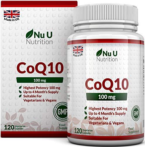 CoQ10 da 100 mg | 120 Capsule di Coenzima Q10 | Integratori alimentari Nu U Nutrition