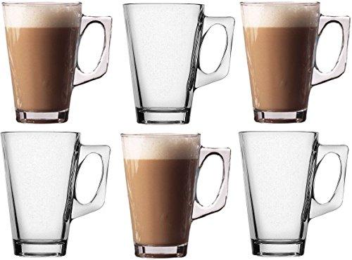 takestop Set 6 TAZZINE 140ml Tazza da Cappuccino Latte Bevanda Calda The' in Vetro con Manico Bicchiere Bar