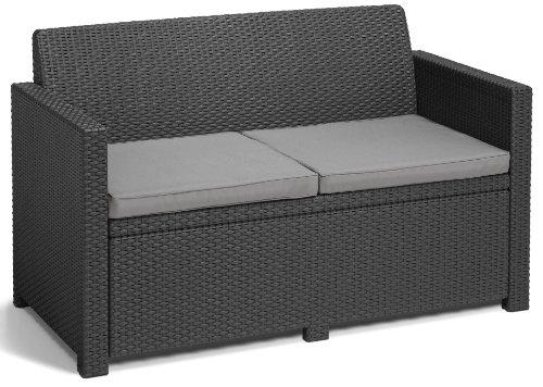 Allibert 219851 Lounge Set Merano (2 Sessel, 1 Sofa, 1 Tisch), Rattanoptik, Kunststoff, graphit - 3