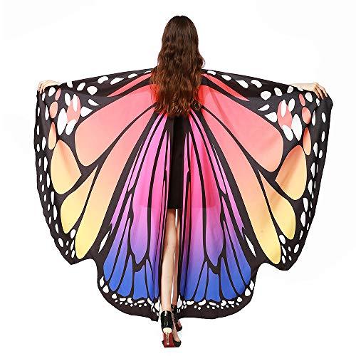 SERWOO Chal Alas Mariposa Estolas Duendecillo para Mujer Capa de Muchacha Accesorio para Disfraz Playa Fiesta (Rosa)