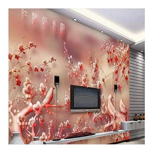 Murales Su Larga Scala Jade Carving Hongmei Good News Tv Divano Sfondo Carta Da Parati Murale Papel...