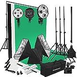 Excelvan - Kit de Profesional Iluminación Caja de Luz Softbox Estudio de Fotografía 50x65Cm (con 12 Unidades de 45W Bombillas 5500K, 3 Telón de Fondo 3x1.5m, Bolsa para Llevar)